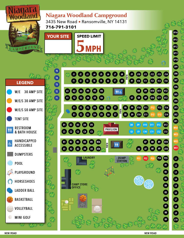 sitemap for niagara woodland campground